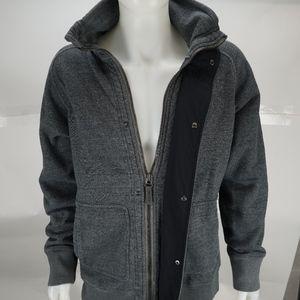 Lululemon Zip Up/Button Up Grey Hooded Jacket
